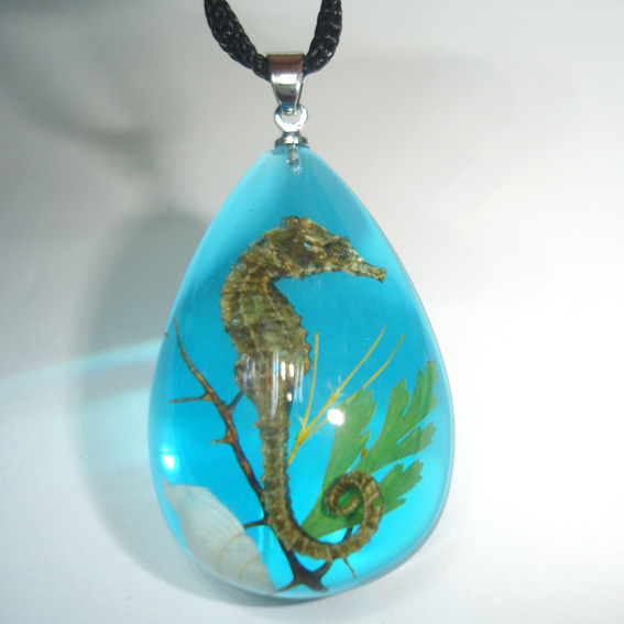 Artificial Amber Pendant With Real Sea Horse 2bldsh A